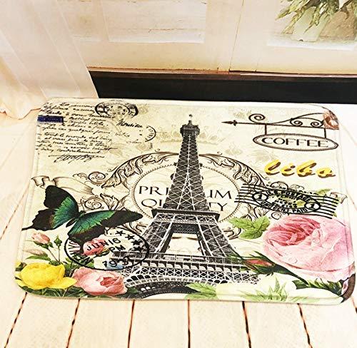 GjbCDWGLA anti-slip badmat deurmat, groene vlinder en ijzeren toren wasbare badmatten, zachte microvezel douchetapijt 50 * 80 cm