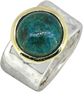 YoTreasure Chrysocolla Ring Solid 925 Sterling Silver Brass Jewelry