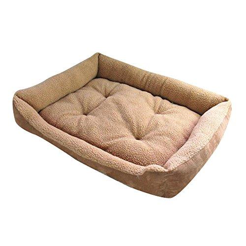 MISSMAO Weiche Lammfell Nachahmung Fluffy Hundebett Haustier Warm Korb Bett Kissen mehrere Größen für Katzen Hunde Leichter Kaffee