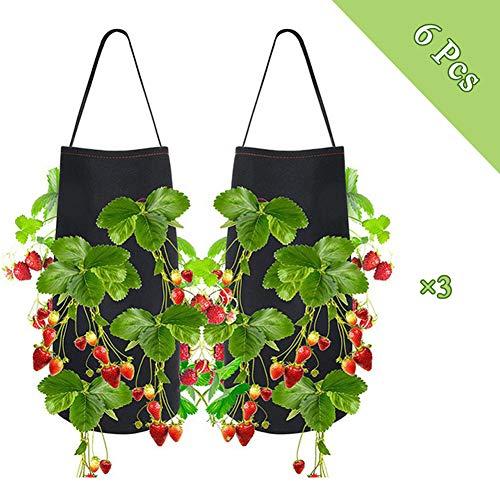 Vilt Plant Kweekzak Kwekerij Hangpotten Bloemen Zaailingen Zaaien Plant Voor Aardbei Tomaat Chili Peper Groeiende Huis Tuin, 6Pcs, 38 × 22CM