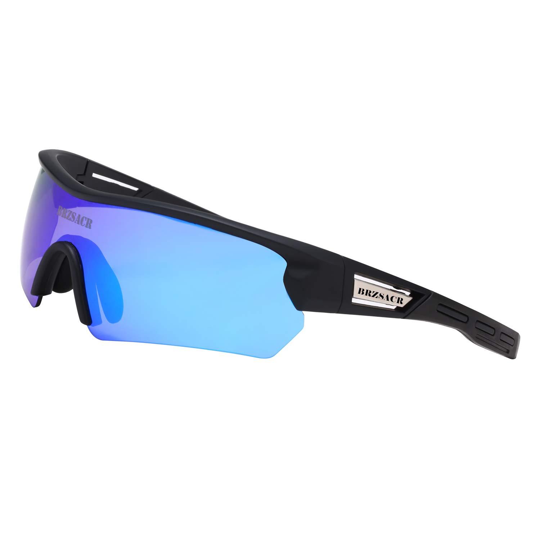 BRZSACR Gafas de Sol Deportivas polarizadas Protección UV400 Gafas de Ciclismo con 5 Lentes Intercambiables para Ciclismo, béisbol, Pesca, esquí, Funcionamiento (Azul): Amazon.es: Deportes y aire libre