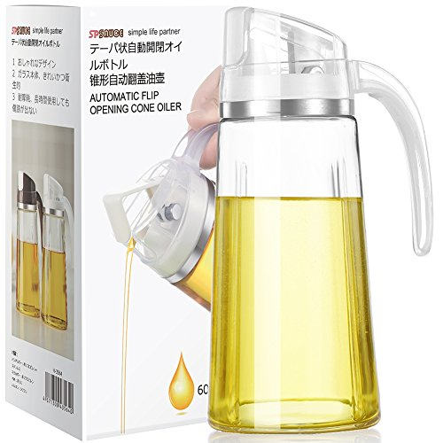 Auto Flip Olive Oil Dispenser Bottle,20 OZ Leakproof Condiment Container With Automatic Cap and Stopper,Non-Drip Spout,Non-Slip Handle for Kitchen Cooking White