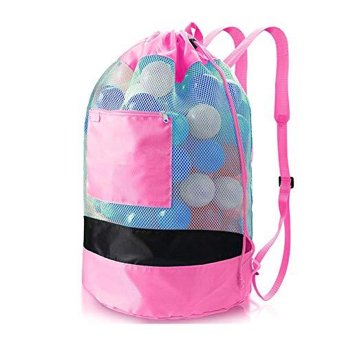 YCYUYK Große Strandspielzeug, Netztasche, Sandaufbewahrung, Kordelzug, Rucksack, verstellbar, Pink