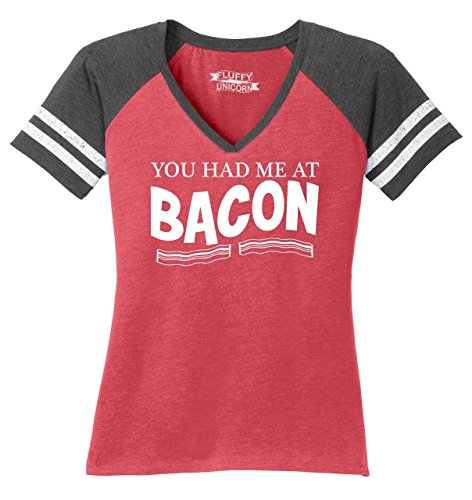 Ladies Game V-Neck Tee You Had Me at Bacon Funny Bacon Food Lover Gift Tee Heathered Red/Heathered Charcoal M