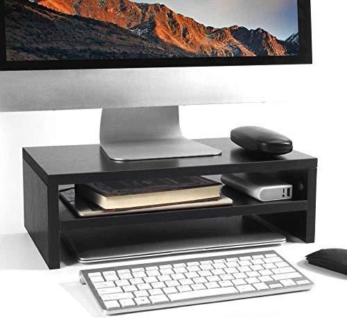 Baodan Soporte para monitor de 2 niveles, soporte ergonómico para impresora portátil con guía de cables para ordenador portátil, ahorra espacio, para ordenador portátil, iMac, PC negro