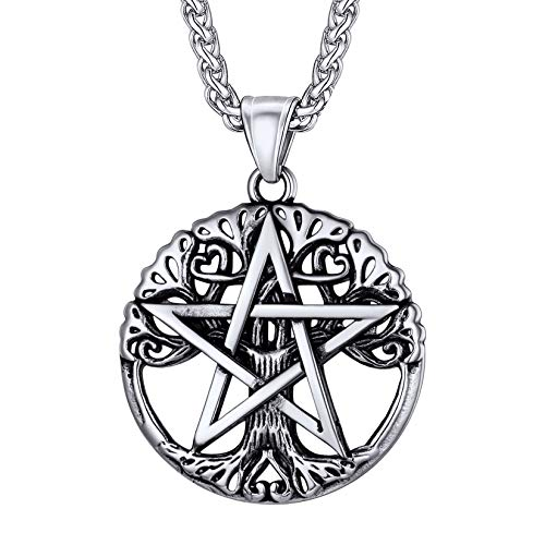 Colar de pentagrama U7, corrente de aço inoxidável, símbolo de amuleto de talismã antigo, joia com pingente de pentagrama mágico para homens e mulheres, gravável personalizada
