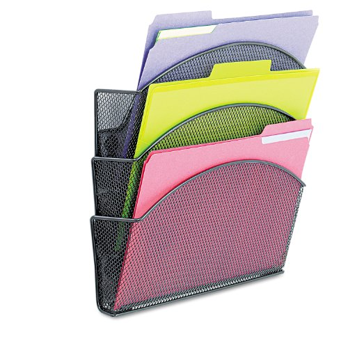 Safco Products Onyx Magnetic Mesh Triple File Pocket, 4175BL, Black Powder Coat Finish, Durable Steel Mesh Construction, Space-saving Functionality