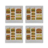 Coaster For Drinks Absorbent Love Fast Food Tasty Hamburger Coaster Set Square Set Of 4 Absorbing Tabletop Protection Coasters For Mugs And Cups,office,kitchen