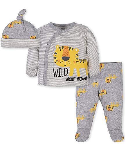 Gerber Baby Boys' 3-Piece Bodysuit, Pant and Cap Set, Grey Tiger, 0-3 Months