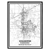 Burlington Washington Vereinigte Staaten Karte Wandkunst