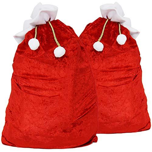 com-four® 2X Saco navideño XXL Noble de Terciopelo con cordón Dorado con Pompones Blancos - Saco Regalo navideño (2 Piezas - cordón de Color Dorado)