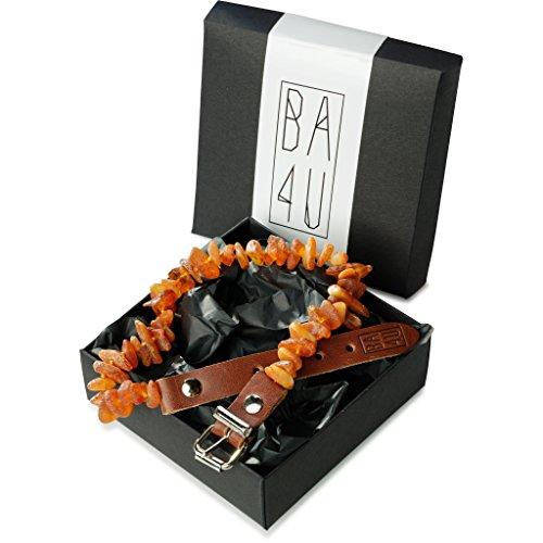 ★ BA4U Bernstein Halsband mit Lederschließe LC40 ★ 41 - 45 cm BA4U Bernsteinkette für Hunde und Katzen ★ Zeckenhalsband ★ Zeckenschutz ★ 100% authentisches und natürliches Produkt ★