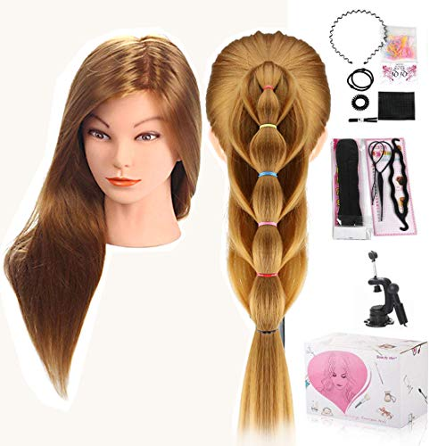 Cabeza Peluqueria, Beauty Star Cabeza Maniqui Peluqueria Pelo 100% Sintético incluye abrazadera soporte y accesorios ideal para Practicar Peinados, 50cm