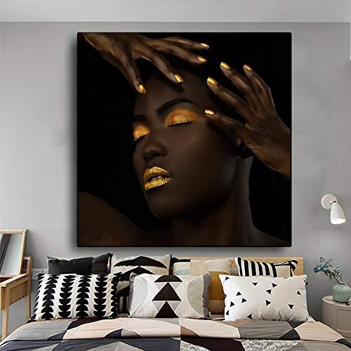 Schwarzgold Moderne Frau Leinwand Kunstdrucke Poster Wandbild Scroll Malerei Wandkunst Dekoration Schlafzimmer,Rahmenlose Malerei,75x75cm