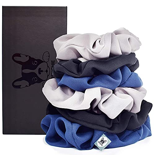 FRENCHIE SCRUNCHIES | Exquisite Athletic Scrunchies in Classic Colours in Matte Black Scrunchies Holder Gift Box - Small & Large Scrunchies - Black, Navy Blue, Gray - Workout Scrunchies