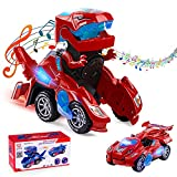 Ltteaoy Dinosaurier Auto Transformers Spielzeug, Transformable Auto mit LED...