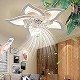 Ventilateur de plafond avec éclairage Dimmable LED Plafonnier Télécommande Moderne Silencieux Plafonnier Bureau Chambre Salon Salle À Manger Lampe Chambre D'enfants Timing Lustre,A