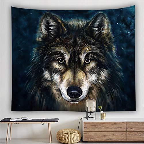 N/A Impresión 3D De Tapices Decoración De Dormitorio Tapiz De Animales Lobo León Gato con Fuego Tapiz De Leopardo Blanco Y Negro Colgante De Pared Decoración Vacaciones 130 Cm X 150 Cm