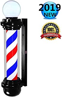 wdegr Barber Pole LED Traditional Outdoor Glowing Globe Light Red White Blue Spinning Stripes Sign Rotating Man Cave Sign