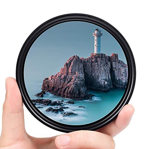 Fotover 62mm Neutrale Graufilter, Slim Variabler ND Filter Einstellbare ND Fader ND2-ND400 Objektiv Filter für Canon Nikon Sony Pentax Olympus Fuji DSLR Kamera + 3 Slot Nylon Filterbeutel