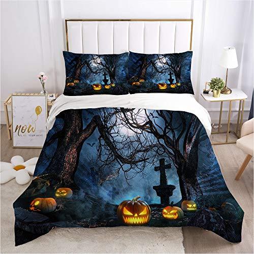QXbecky Halloween Gift Pumpkin Skull Death 3D Digital Bedding Quilt Cover Pillowcase 3 Piece Set