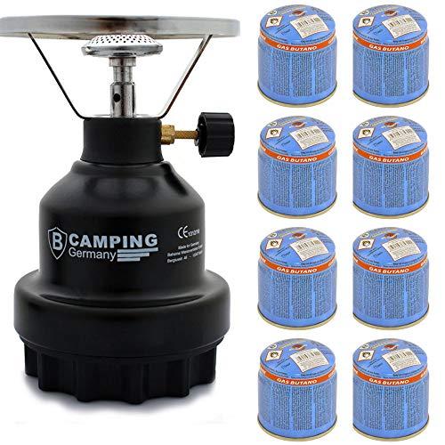 Campingkocher E190 Gaskocher Metall mit 4X Gas (Schwarz 8)