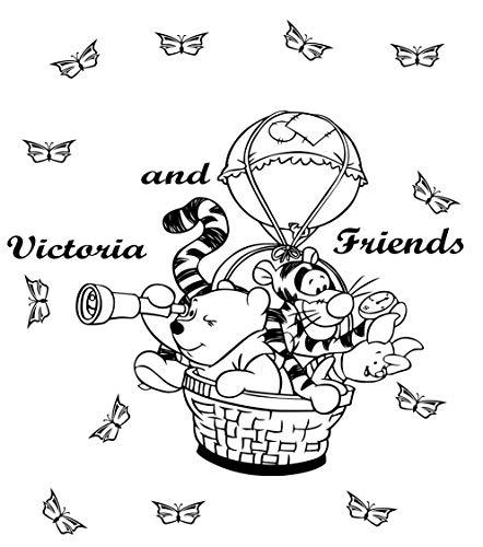 Winnie l'Ourson et ses amis Porcinet, Bourriquet, Tigrou sur le ballon comme personnalisé Mur Autocollant pour enfant Chambre à coucher, chambre d'enfant 3