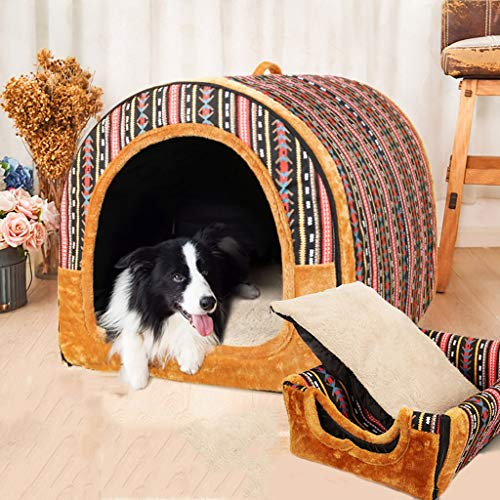 Hundehütte Zwinger Mittlere und große Hunde Faltbarer Waschbarer Hundehaus Haustierraum Haustier-Matte Haustierbett Heimtierbedarf Das ganze Jahr über universell (Farbe : E, größe : 86 * 66 * 70)