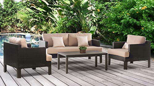 Abbyson Living 4-Piece Outdoor Wicker Patio Furniture Set with Loveseat, 2 Club Chairs, and Coffee Table, Beige