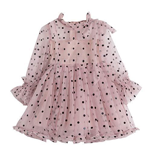 TTYAOVO Prinzessin Mädchen Spitze Kleid Beiläufig Blume Mädchen Baby Polka Punkte Größe 110 (3-4 Jahre) 1226 Rosa