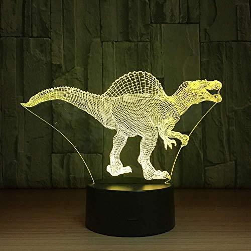 LED Nachtlichter 3D Spinosaurus 3D Lampe LED USB Dinosa 3D Nachtlichter 7 Farben Remote Touch Switch Schreibtisch Tischlampe Baby Schlaflicht als Geschenk