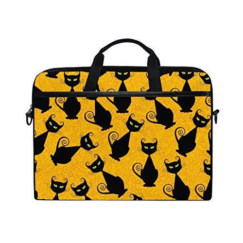 EZIOLY Halloween Black Cats Laptop Shoulder Messenger Bag Case Sleeve for 13 Inch to 14 inch Laptop