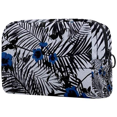Trousse de toilette portable pour femme avec brosses de maquillage personnalisées, sac à main, organiseur de voyage fleurs sombres