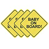Baby on Board Sticker for Cars (4 PCS) 5' by 5'. Baby on Board Sign Decal.See-Through When Reversing and Bright Yellow . No Need for Suction Cup or Magnets - Strong Adhesive