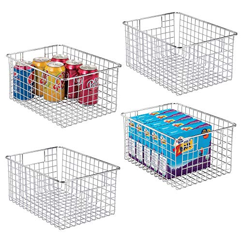 mDesign Farmhouse Decor Metal Wire Food Storage Organizer Bin Basket with Handles - for Kitchen Cabinets, Pantry, Bathroom, Laundry Room, Closets, Garage - 12 x 9 x 6 - 4 Pack - Chrome