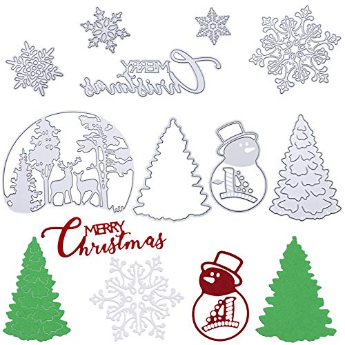 9 Pieces Merry Christmas Metal Die Cuts Christmas Snowflake Cutting Dies Christmas Tree DIY Stencils for Embossing Card Making Photo Decorative Paper Dies Scrapbooking