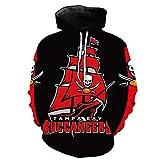 Unisex Con Capucha Suéter - Los Aficionados De La NFL Tampa Bay Buccaneers 3D Camiseta De Rugby Uniforme Primavera Con Capucha Suéter De Béisbol Con Bolsillo - Adolescentes Regalo Black+Red-XXXXL