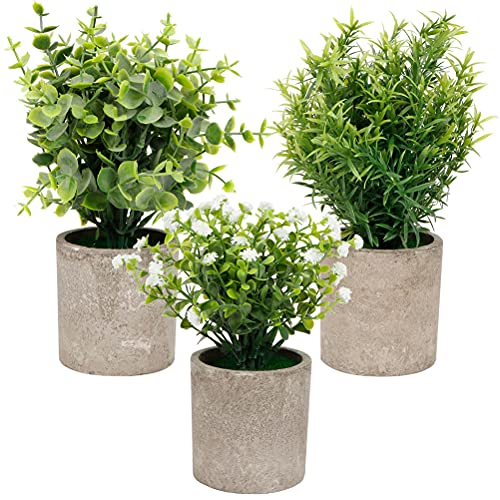 Planta artificial en maceta para interior en macetas Mini maceta, 3 piezas plantas artificiales pequeñas eucalipto gypsophila plantas verdes artificiales decorativas para hogar,oficina,dormitorio