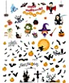 Halloween Decorations Stickers 102pcs - 2 THEMED, Wall and Glass Decals Stickers Haunted House, Ghost, Bats, Witch, Pumpkin Home, Office Window Decor Sticker Glass Decals for Halloween Party - 12 Pack