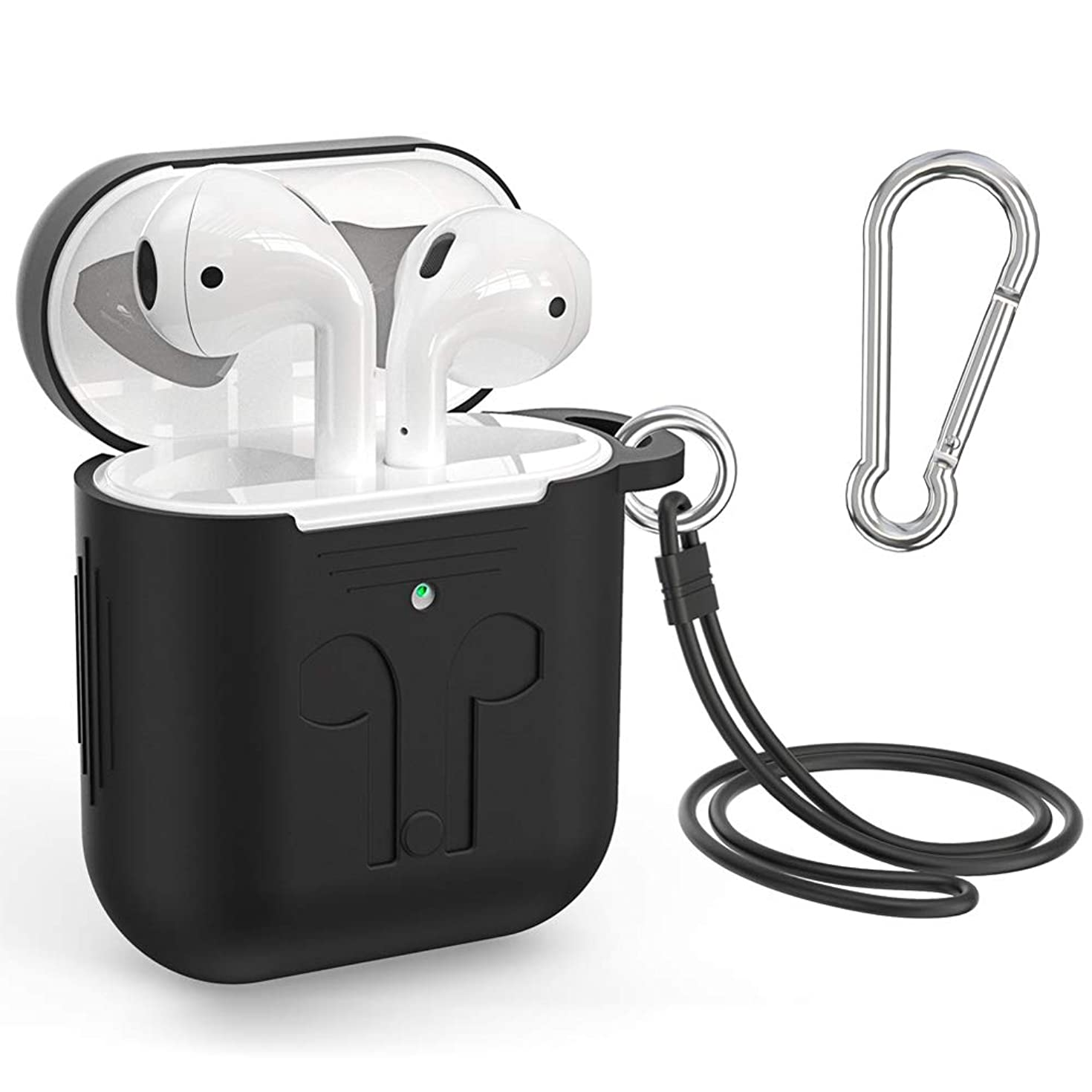Supmega Cover Compatible with Apple Airpods 2 Case Keychain New Air Pods 2nd Generation Protective Skins with Silicone Straps Accessories [Front LED Visible] (Black)