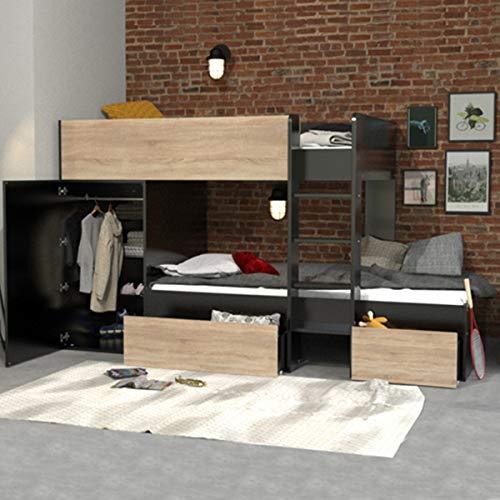 Litera 90x190 - armario - cajones - Weber Industries Twin - Negro y madera