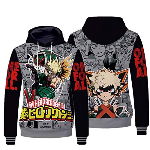 My Hero Academia 3D Hoodie Sweatshirt, Boys Boku No Hero Academia Drawstring Pullover Costume for Cosplay, (Midoriya Izuku Hoodie -2, XL)