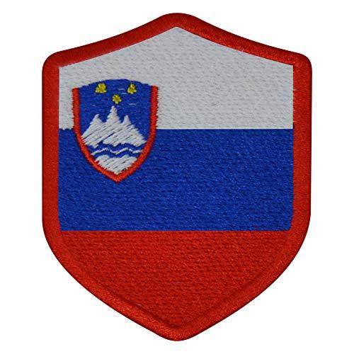 benobler FanShirts4u Aufnäher - SLOWENIEN - Wappen - 7 x 5,6cm - Bestickt Flagge Patch Badge Fahne (rote Umrandung)