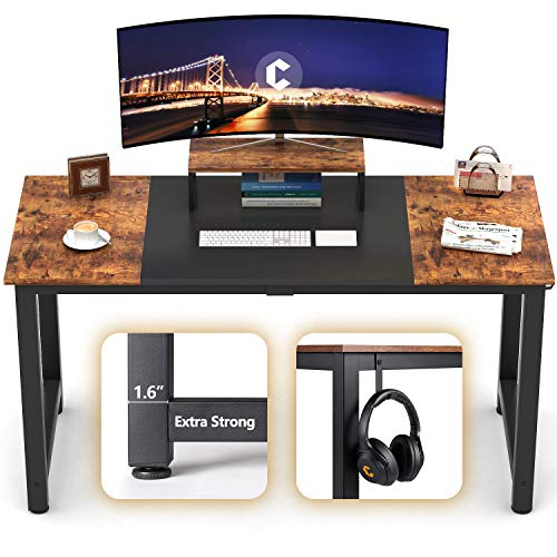CubiCubi Computer Office Desk 63quot Study Writing Table Modern Simple Style PC Desk with Splice Board Black and Rustic Brown