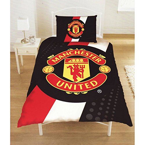 Manchester United Football Club Official Striped Single Duvet Cover Bedding Set (Single Bed) (Red/Black/White)