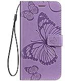 Herbests Kompatibel mit Huawei Honor 6C Lederhülle Handyhülle Schutzhülle Ledertasche Wallet Hülle Schmetterling Klapphülle Stoßfest Handytasche Flip Tasche Stand Kartenfächer,lila