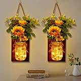 OurWarm Set of 2 Sunflower Mason Jar Sconces Wall Decor, Rustic Wall Sconces Handmade Hanging Mason Jars with LED Fairy Lights for Home Kitchen Living Room Farmhouse House Decorations Lights