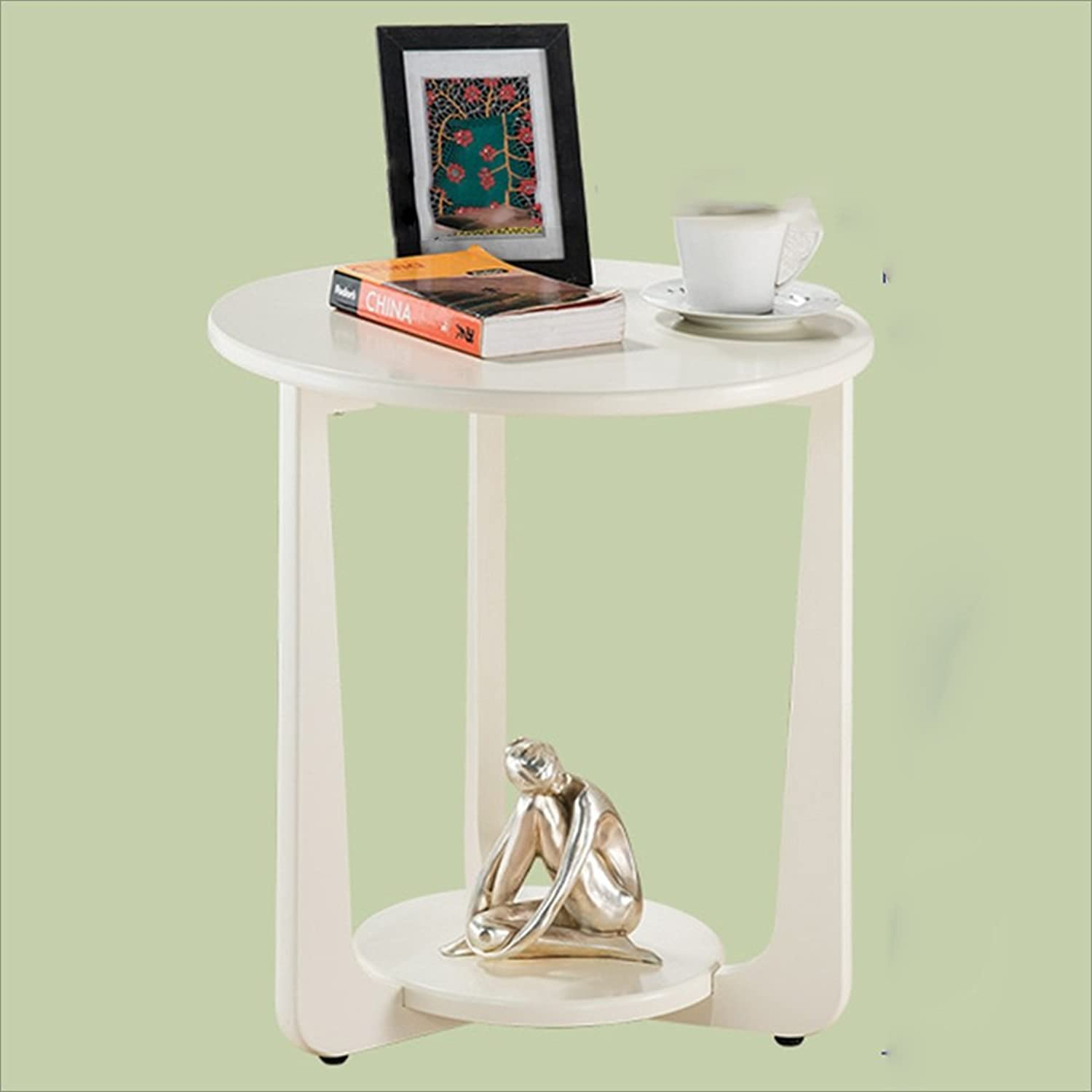 NAN American Sofa Side Table European-Style Simple Round Coffee Table Small Coffee Table A Few Corner Coffee Phone Table Folding Tables (color   Milky White)