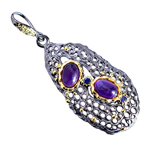 Natural Amethyst 925 Sterling Silver Black Rhodium Pendant Necklace Wedding Anniversary Jewelry for Women