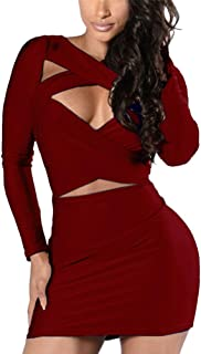 VOGRACE Women's Long Sleeve Cut Out Bandage Bodycon Party Clubwear Mini Dress